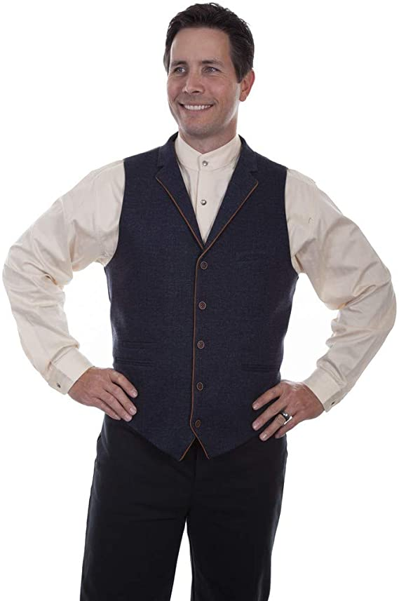 Men's Vintage Workwear Inspired Clothing Scully Mens Rangewear Western Wool Four Pocket Vest - Rw313-Blu $66.10 AT vintagedancer.com