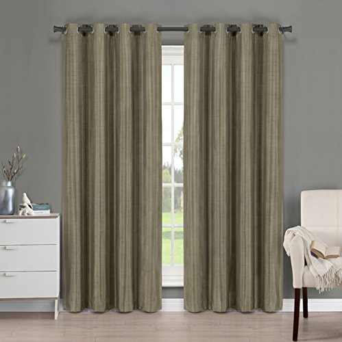 Brielle Fortune Faux Dupioni Silk Lined Insulated Room Darkeninng Grommet Panel, 50 by 108