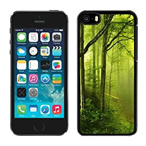 Beautiful Designed Antiskid Cover Case For iPhone 5C Phone Case With Fantasy Green Forest_Black Phone Case