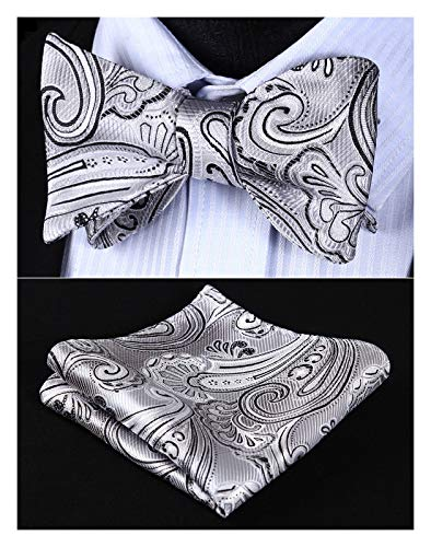 Enmain Men's Paisley Floral Bowtie Jacquard Woven Party Self Bow Tie Set Gray/Black