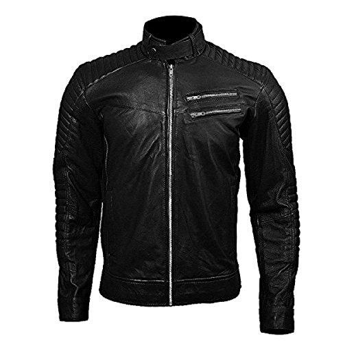 Zipper Double Black Pocket Mens Jacket Leather Bomber qFZ5IExTdw
