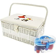 Vintage Sewing Basket Organizer Box Kit with Hand Sewing Supplies and Notions, Rectangular Shaped, 13 x 9 x 6 Inches