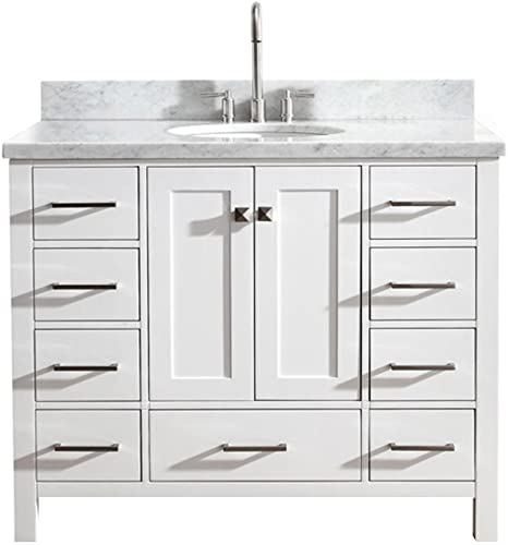 DKB Beckford Series 43 Inch Single Oval Sink Bathroom Vanity Cabinet in White Carrara White Marble Countertop 2 Soft Closing Doors 9 Full Extension Dovetail Drawers No Mirror