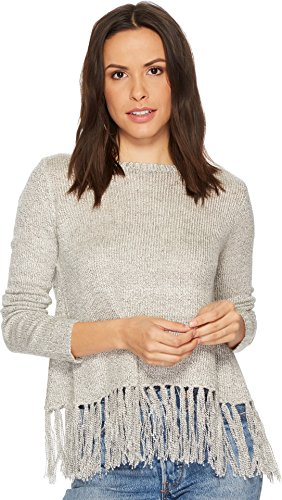 BB Dakota Women's Jeraldine Fringe Trim Sweater, Oatmeal Heather, Extra Small - Extra Small Oatmeal