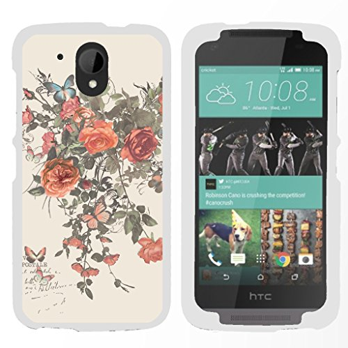 TurtleArmor | Compatible with HTC Desire 526G Case | Desire 526 Case [Slim Duo] Slim Snap On 2 Piece Hard Cover Protector Case Girls on White - Elegant Roses (Virgin Mobile Htc Desire 4g)