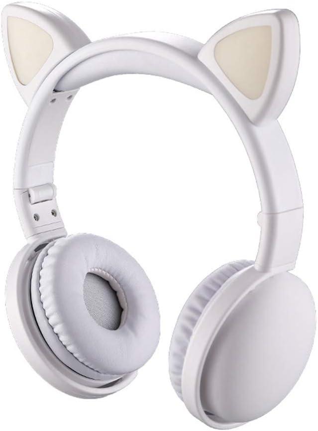 zrshygs Child LED Flashing Cat Ear Headset Wireless Bluetooth Music Headphones Kids Gift Yellow