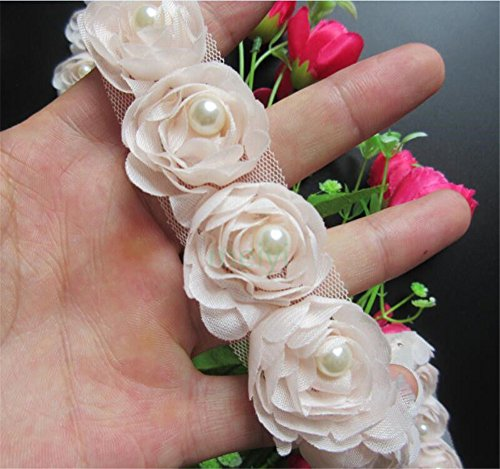 2 Meters Rose Flower Pearl Chiffon Lace Edge Trim Ribbon 5 cm Width Vintage Style Pink Champagne Edging Trimmings Fabric Embroidered Applique Sewing Craft Wedding Bridal Dress DIY Clothes Decor