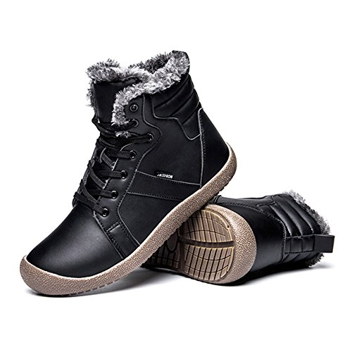 Shoes Fully up Fung Leather Fur Men's High Boots Top Lace Warm wong Black Lined with Winter Snow wwPFOx
