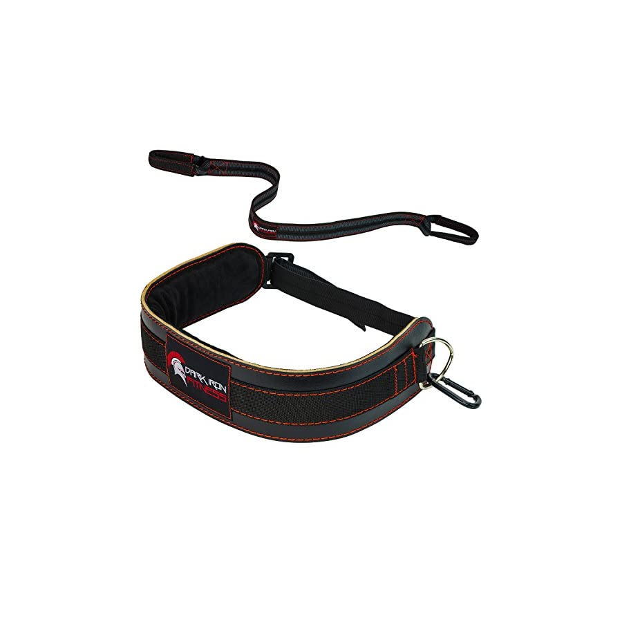 Dark Iron Fitness Leather Weight Belt Lifting Dip Belt Weight Belts with Chain Belt Weightlifting Strap Replacement Weight Pullup Belt/Weighted Dip Belt Tricep Dip Belt with Dipping Belt Strap