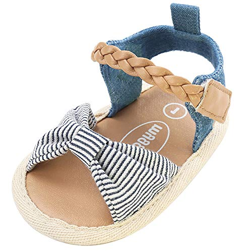 Isbasic Baby Girls Sandals Bohemia Bowknot Soft Sole First Walkers Beach Sandals Shoes (0-6 Months, Stripe Bow) ()