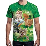 NUWFOR Mens 3D Print Casual St. Patrick's Day Short-Sleeved Shirt Top Blouse(Green,M US Chest:40.9''