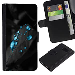 All Phone Most Case / Oferta Especial Cáscara Funda de cuero Monedero Cubierta de proteccion Caso / Wallet Case for Samsung Galaxy S6 // azul misteriosa aqua agua de carbono