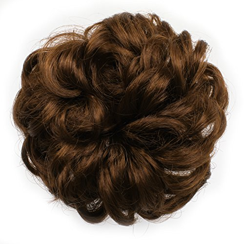 OneDor Ladies Synthetic Wavy Curly or Messy Dish Hair Bun Extension Hairpiece Scrunchie Chignon Tray Ponytail (30#)