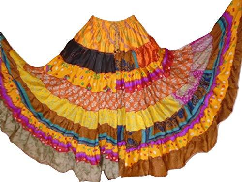 9 Yard Tribal Gypsy Maxi Tiered Skirt Belly Dancing Skirts Silk Blend M L (J41)