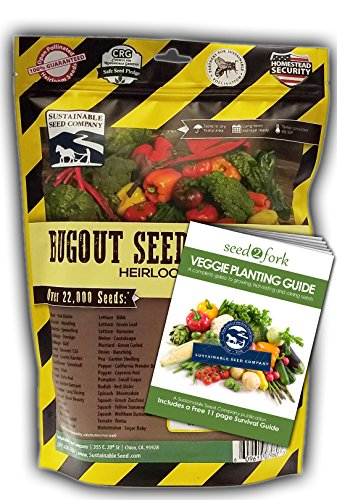 Sustainable Seed Bugout Seed Bag - 34 Variety Survival Garden Seed Collection - Non-GMO Heirloom Vegetable Seeds for Long Term Storage or Instant Garden (Bug Tomato)