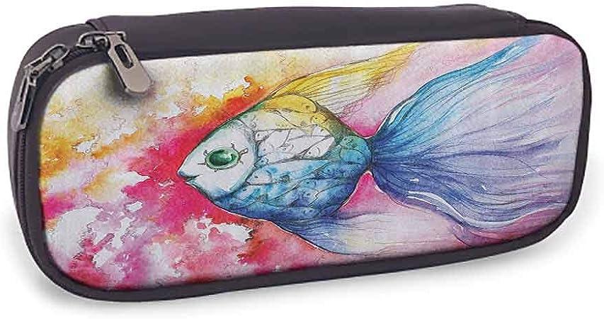 Estuche de piel para lápices con diseño de animales del océano y figuras de peces con un antiguo otomano ornamentado mosaico hecho a mano con ilustraciones marinas fáciles de transportar, color azul: