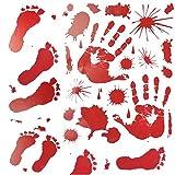 Alioo Halloween Decorations (10packs,100pcs),Bloody Handprints Footprints Stickers Horror Bathroom Decor Zombie Walking Dead Party
