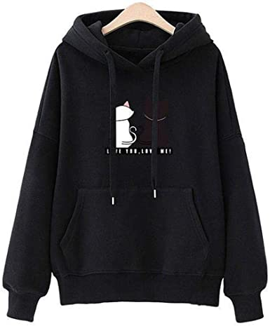 LEANO Women Casual Hooded with Drawstring Long Sleeve Solid Pullover Hoodie Fashion Hoodies Black