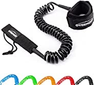 Overmont Surfboard Leash Premium Stand Up Paddle Board Leg Rope Wrist Strap Coiled 10 ft TPU Safe for Paddlebo