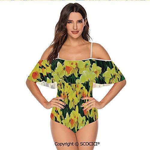 SCOCICI Bikini Swimsuit Daffodil Narcissus Gardening Nature Botanical Theme Sea