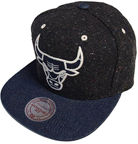 Mitchell & Ness Chicago Bulls Tweed Denim Crown NZ60Z Strapback Cap Basecap (Denim Schwarz)