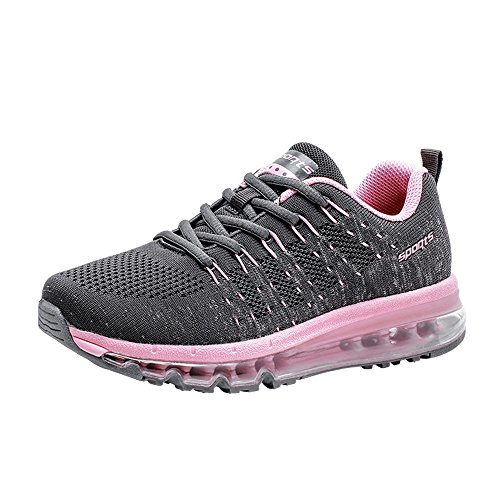 NEOKER Mens Womens Running Trainers Air Athletic Sports Competition Fitness Gym Shoes Black White Red Green Pink UK3.5-10.5 Black+Pink fFlJq