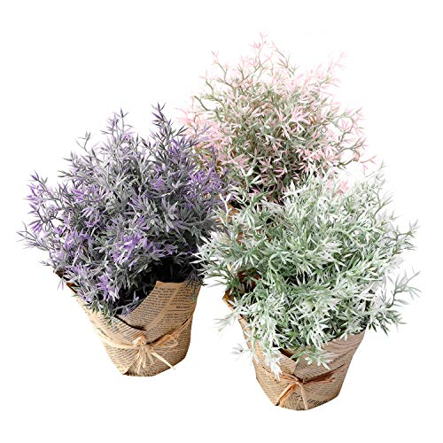 (The Bloom Times 3 Packs Artificial Potted Plants and Flowers, Lifelike Fake Plastic Grass Greenery for Table Home Office Shelf Centerpieces Party Wedding Farmhouse Decor)