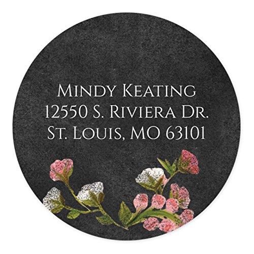 Chalkboard Floral Self-Adhesive, Circle Address Labels - Personalized - Minimum Quantity 120