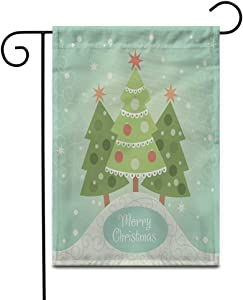 Crysss 12.5x18Inch Garden Flag Green Tree Christmas Brown Greeting Pastel Fantasy Retro Xmas Snow Outdoor Home Decor Double Sided Yard Flags Banner for Patio Lawn