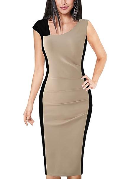 52e80369e18e0 Fantaist Womens Casual Sleeveless Colorblock Business Office Career Sheath  Dress