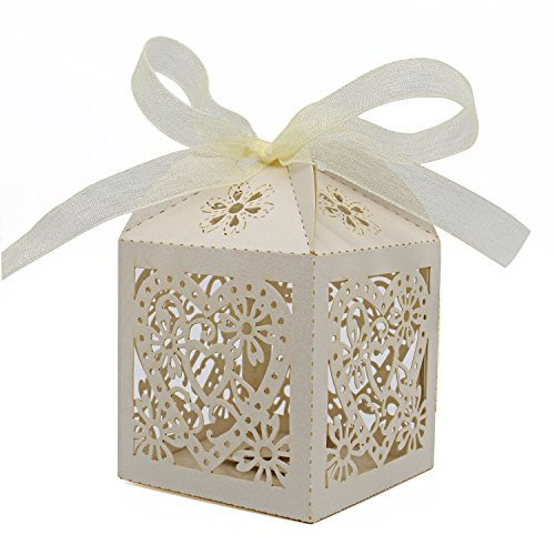 KEIVA 100 Pack Love Heart Laser Cut Wedding Party Favor Box Candy Bag Chocolate Gift Boxes Bridal Birthday Shower Bomboniere with Ribbons (Beige, 100)