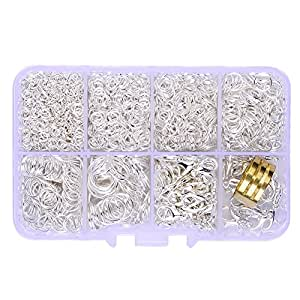 In A Box(2000pcs/box) Kit with Silver Plated 100 Pcs Lobster Claw Clasps 12mm and 1900 Pcs Open Jump Rings 4mm 5mm 6mm 7mm 8mm 10mm and Jump Ring Open Tool For Jewelry Making Findings