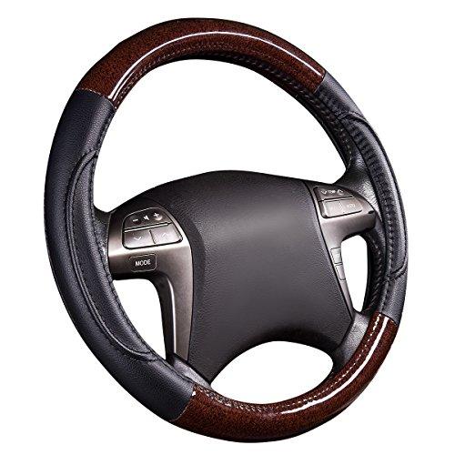 (NEWARRIVAL-HORSE KINGDOM Genuine Leather Steering Wheel Covers Breathable Air-mesh Non-slip Set (black))