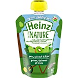 Heinz By Nature Organic Baby Food - Pear, Spinach & Kiwi Purée - 128mL Pouch (Pack of 6)