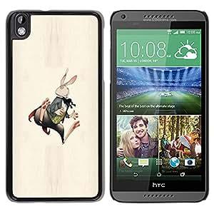 TopCaseStore / la caja del caucho duro de la cubierta de protección de la piel - Bunny Rabbit White Long Ears Fairy Tale Art - HTC DESIRE 816