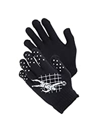Childrens Boys Football Design Thermal Magic Gripper Gloves (One Size) (Navy/White)