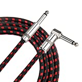 Amosic Guitar Cable 10 Feet, Instrument Cable Straight to Right Angle 1/4 Inch Plug with Tweed Cloth Jacket for Electric Bass Guitar, Keyboards