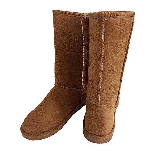 Mujeres Fur-lined Mid-becerro 3 Botones De Imitación De Nieve Suave Winter Flat Bota Zapatos Nuevo Tan