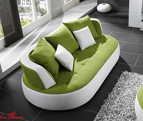 Sofa Couch Polstermobel 61007 Schneeweiss Kunstleder Grun
