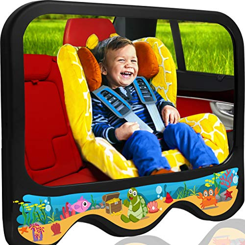COZY GREENS Baby Car Mirror Sea Theme | Baby Mirror for Car Back Seat | Shatterproof, Stable, Crash Tested | 100% Lifetime Satisfaction Guarantee | Wide View Carseat Mirrors Backseat Rear Facing ()