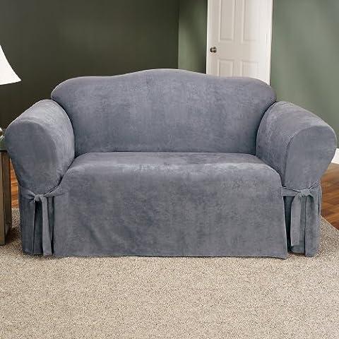 Soft Suede Sofa Slipcover - Smoke Blue - Homestyles Leather Sofa