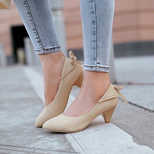 Beige Damen Shoes Pumps Schleife Mee Trichterabsatz Nubukleder OYwBnq5