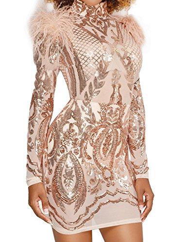 Jiujiuyi Womens Floral Sequin Embellished Mesh Long Sleeve Bodycon Mini Dress