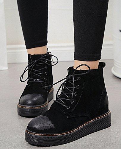Trendy Booties Round Women's Up Aisun Suede Lace Black Short Toe qvHdw5