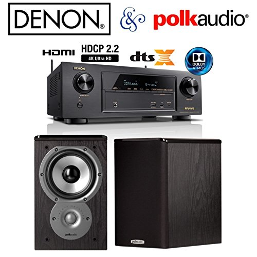Denon AVR X1300W Receiver Bundle With Polk Audio TSi100 Bookshelf Speakers