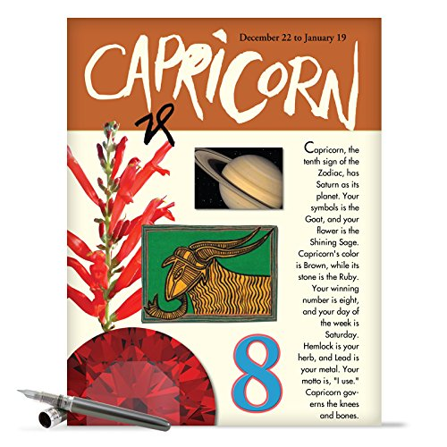 J9451 Capricorn Astrological Sign Birthday Card - Famous People, Moto, Personality, Stone, Symbol, Planet, Color, Flowers and Dates (Extra Large 8.5'' x 11'' w/ Envelope)