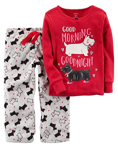 Carter's Girls' 12M-8 2 Piece Morning Dog Fleece Pajama Set 18 (Kid 2 Piece Pjs)