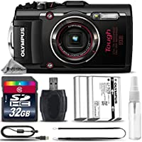 Olympus Stylus TOUGH TG-4 Digital Camera (Black) + 32GB CLASS 10 MEMORY CARD + Replacement Battery for Olympus LI-92B + Card Reader + Tripod + Cleaning Kit - International Version