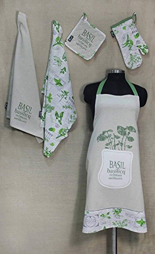 R Home Basil Leaf Script Printed Cotton Chef'S Apron Set With Mitten, Pot Holder And 2 Kitchen Towels, Green, Kitchen Linen