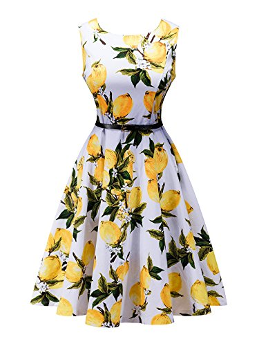 ZuLves 50's Retro Wiggle Flower Print Sleeveless Ball Gowns Dress 2# Size (Spring Ball Dresses)